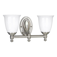 Victorian 2 Light 17 inch Brushed Nickel Bath Vanity Wall Light
