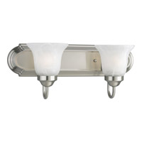 Builder Bath 2 Light 18 inch Brushed Nickel Bath Vanity Wall Light in Bulbs Included, Fluorescent