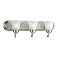 Builder Bath 3 Light 24 inch Brushed Nickel Bath Vanity Wall Light in Bulbs Included, Fluorescent
