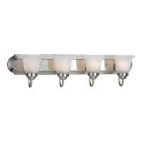 Progress P3054-09 Alabaster Glass 4 Light 30 inch Brushed Nickel Bath Vanity Wall Light in Bulbs Not Included Standard