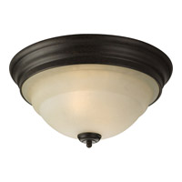 Torino 2 Light 15 inch Forged Bronze Close-to-Ceiling Ceiling Light in Tea-Stained