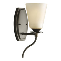 Progress P3216-77 Cantata 1 Light 5 inch Forged Bronze Bath Vanity Wall Light in Seeded Topaz Glass