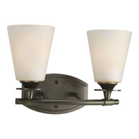 Progress P3222-77 Cantata 2 Light 13 inch Forged Bronze Bath Vanity Wall Light in Seeded Topaz Glass