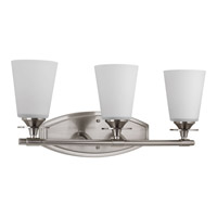 Cantata 3 Light 22 inch Brushed Nickel Bath Vanity Wall Light in Etched Glass Painted White Inside