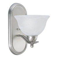 Avalon 1 Light 8 inch Brushed Nickel Bath Vanity Wall Light in Swirled Alabaster