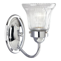 Economy Fluted Glass 1 Light 5 inch Polished Chrome Bath Vanity Wall Light