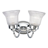 Progress Lighting Economy Fluted Glass 2 Light Bath Vanity in Polished Chrome P3288-15