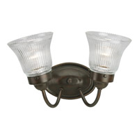 Progress Lighting Economy Fluted Glass 2 Light Bath Vanity in Antique Bronze P3288-20