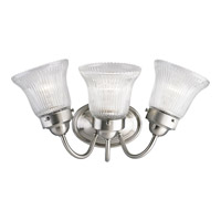 Progress Lighting Economy Fluted Glass 3 Light Bath Vanity in Brushed Nickel P3289-09