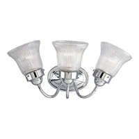 Economy Fluted Glass 3 Light 16 inch Polished Chrome Bath Vanity Wall Light