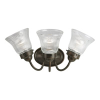 Progress Lighting Economy Fluted Glass 3 Light Bath Vanity in Antique Bronze P3289-20