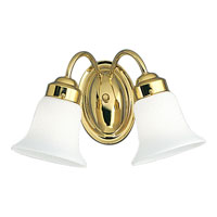 Progress Lighting Opal Glass 2 Light Bath Vanity in Polished Brass P3374-10