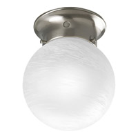 Progress Lighting Glass Globe 1 Light Close-to-Ceiling in Brushed Nickel P3401-09