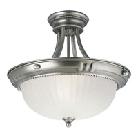 Progress Lighting Huntington 3 Light Semi-Flush Mount in Antique Nickel P3409-81