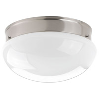 Fitter LED 12 inch Brushed Nickel Flush Mount Ceiling Light in White Glass, Opal Glass