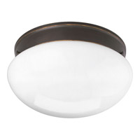 Progress P3412-20 Fitter 2 Light 12 inch Antique Bronze Close-to-Ceiling Ceiling Light in White Glass