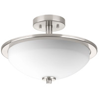 Replay 2 Light 15 inch Brushed Nickel Semi Flush Mount Ceiling Light, Convertible