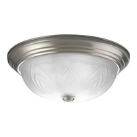 Progress Lighting Etched Glass 3 Light Close-to-Ceiling in Brushed Nickel P3430-09