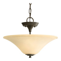 Cantata 2 Light 16 inch Forged Bronze Semi-Flush Mount Ceiling Light in Seeded Topaz Glass