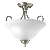 Alabaster 2 Light 13 inch Brushed Nickel Semi-Flush Mount Ceiling Light in Alabaster Glass