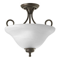 Alabaster 2 Light 13 inch Antique Bronze Semi-Flush Mount Ceiling Light in Alabaster Glass