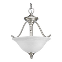 Progress P3467-09 Avalon 3 Light 13 inch Brushed Nickel Semi-Flush Mount Ceiling Light in Swirled Alabaster