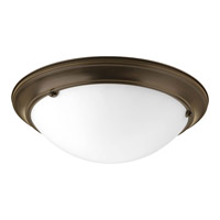 Eclipse 3 Light 19 inch Antique Bronze Close-to-Ceiling Ceiling Light in Satin White Glass