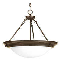 Progress P3486-20 Eclipse 3 Light 19 inch Antique Bronze Foyer Pendant Ceiling Light in Satin White Glass photo thumbnail