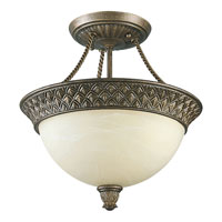 Progress Lighting Savannah 2 Light Semi-Flush Mount in Burnished Chestnut P3499-86STRWB