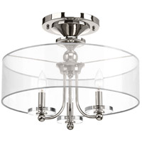 Marche 3 Light 18 inch Polished Nickel Semi Flush Mount Ceiling Light, Convertible, Design Series