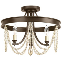 Allaire 3 Light 16 inch Antique Bronze Semi-Flush Convertible Ceiling Light