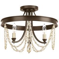 Progress P350030-020 Allaire 3 Light 16 inch Antique Bronze Semi-Flush Convertible Ceiling Light Design Series