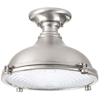 Fresnel Lens LED 12 inch Brushed Nickel Semi-Flush Mount Ceiling Light