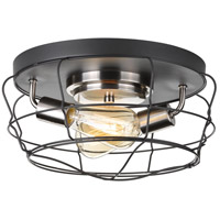 Gauge 2 Light 14 inch Graphite Flush Mount Ceiling Light