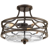 Soiree 3 Light 15 inch Antique Bronze Semi-Flush Convertible Ceiling Light
