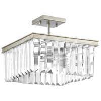 Progress P350058-134 Glimmer 2 Light 14 inch Silver Ridge Semi-Flush Convertible Ceiling Light Design Series
