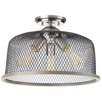 Tilley 3 Light 16 inch Brushed Nickel Semi-Flush Mount Ceiling Light