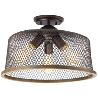 Tilley 3 Light 16 inch Antique Bronze Semi-Flush Mount Ceiling Light