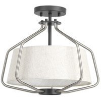 Hangar 2 Light 16 inch Brushed Nickel Semi-Flush Convertible Ceiling Light, Design Series