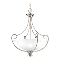 Progress P3532-09 Kensington 3 Light 22 inch Brushed Nickel Foyer Pendant Ceiling Light in Swirl Etched Glass