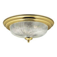 Progress Lighting Clear Swirled Glass 3 Light Close-to-Ceiling in Polished Brass P3535-10