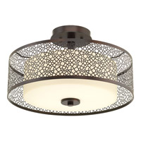 Mingle 2 Light 16 inch Antique Bronze Semi-Flush Ceiling Light in Etched Spotted Tea Glass