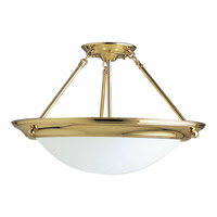 Progress Lighting Eclipse 3 Light Semi-Flush Mount in Polished Brass P3569-10