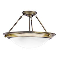 Progress Lighting Eclipse 3 Light Semi-Flush Mount in Antique Brass P3570-11EB