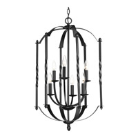 Progress Greyson 6 Light Foyer Pendant in Black P3577-31