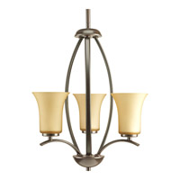 Progress P3587-20 Joy 3 Light 15 inch Antique Bronze Hall & Foyer Ceiling Light in Etched Light Umber