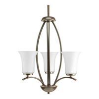 Progress P3587-20W Joy 3 Light 15 inch Antique Bronze Foyer Pendant Ceiling Light in Etched