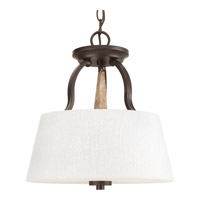 Club 3 Light 14 inch Antique Bronze Convertible Semi-Flush Ceiling Light