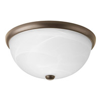Progress P3624-20WB Random 2 Light 14 inch Antique Bronze Close-to-Ceiling Ceiling Light in Alabaster Glass