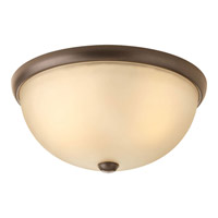 Random 2 Light 14 inch Antique Bronze Close-to-Ceiling Ceiling Light in Light Umber Etched Glass